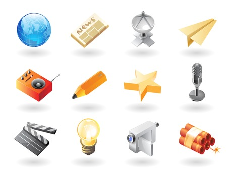 High detailed realistic icons for mass media Vector
