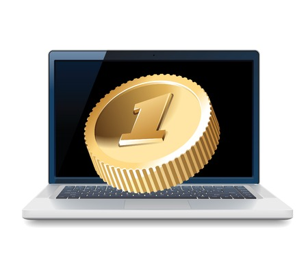 Laptop with coin, web and IT business concept. illustration. Vector