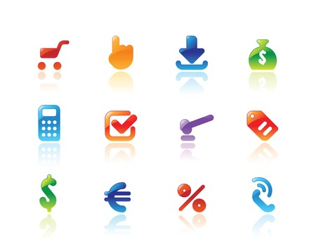 Perfect designer icons for online trade. Main shape, highlights and reflection are in separate layers. Vector