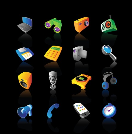 vcr: Realistic  icons set for various media and electronics devices on black background