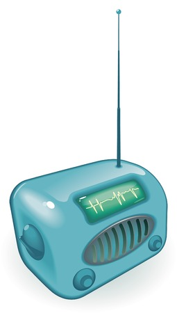 clipart speaker: Old-fashioned radio with antenna.  illustration.
