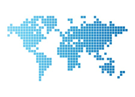Abstract computer graphic World map of blue tiles. Vector illustration. Vector