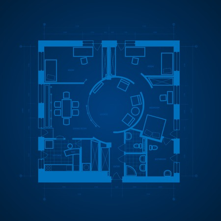 Abstract blueprint background in blue colors. Vector illustration. Vector