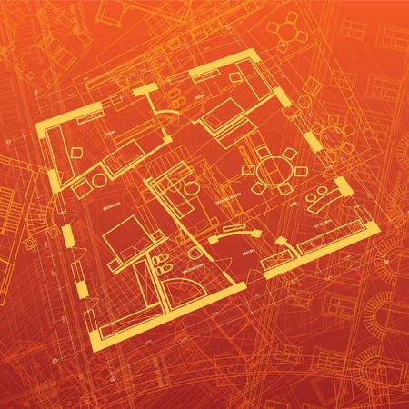 condominiums built: Abstract architectural background. Vector illustration. Illustration