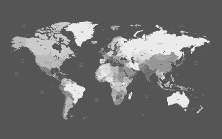geographical locations: Detailed vector World map of gray colors. Names, town marks and national borders are in separate layers. Illustration