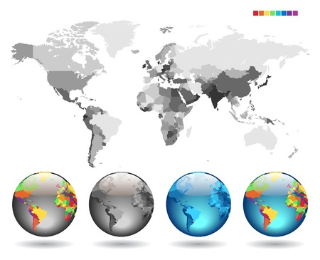 Globes on gray detailed map. Vector illustration.