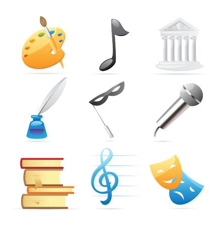 Iconos de Artes: Bellas Artes, música, arquitectura, poesía, literatura, teatro. Ilustración vectorial.