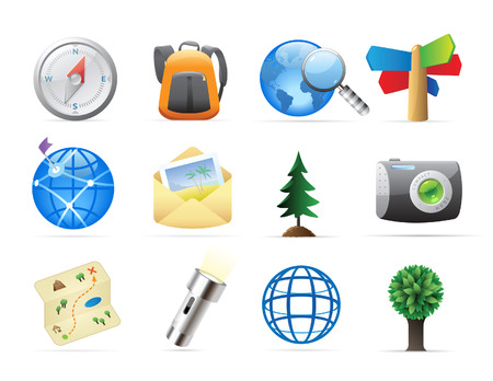 exploring: Icons for tourism and backpacking. Vector illustration.