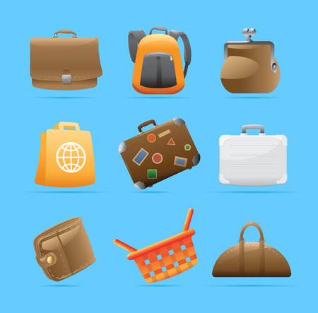 ruck sack: Icons for various bags. Vector illustration. Illustration