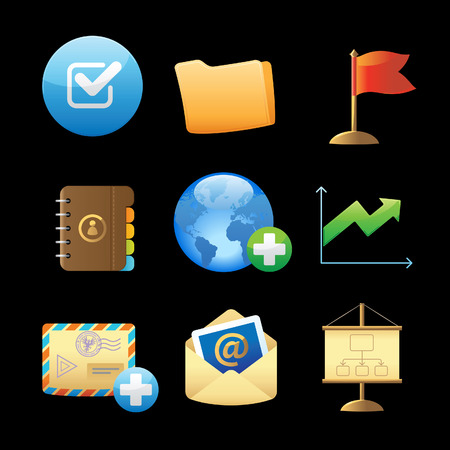 Icons for business metaphors and symbols. Vector illustration. Stock Vector - 8622058