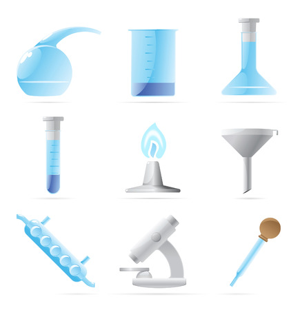 retort: Icons for chemical lab. Vector illustration. Illustration