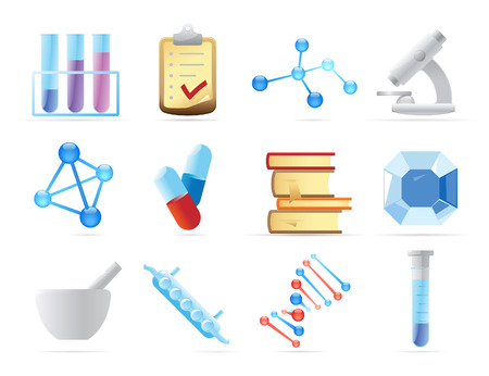 science chemistry: Icons for chemistry. Vector illustration.