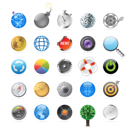 vynil: Icons for round objects and symbols. Vector illustration. Illustration