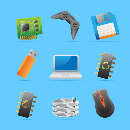 Icons for computer and computer parts. Vector illustration. Stock Vector - 8622061