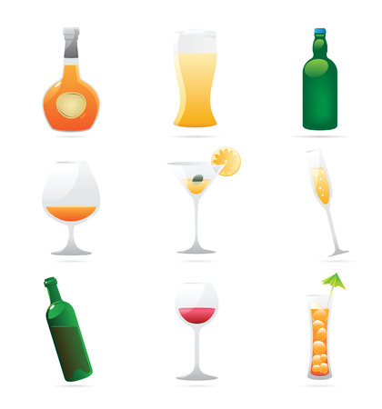 Icons for drinks. Vector illustration. Vector