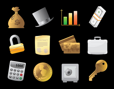 Icons for finance, money and security. Vector illustration. Stock Vector - 8622074