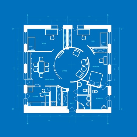 Abstract blueprint background in blue and white colors. Vector illustration. Vector