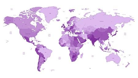 Carte détaillée du monde vecteur de couleurs violettes. Les noms, marques de la ville et les frontières nationales sont dans des couches distinctes.
