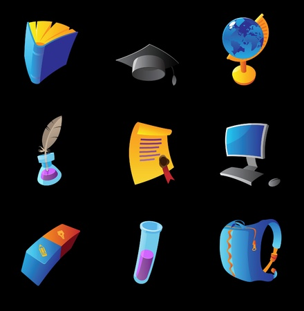 inkpot: Icons for education, black background. Vector illustration.