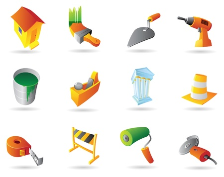house under construction: Icons for construction industry and tools. Vector illustration.