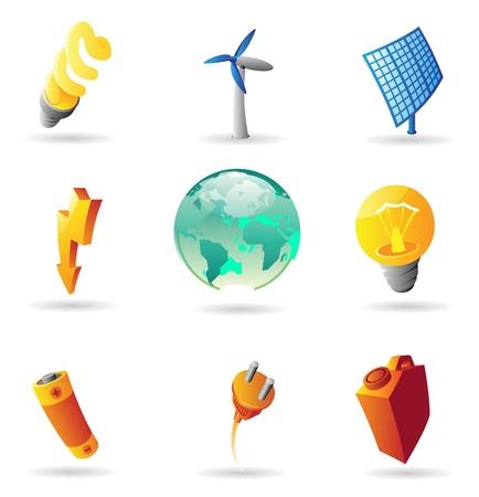 enchufe: Iconos para energía y ecología. Ilustración vectorial.
