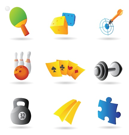 Icons for leisure and gambling. Vector illustration. Vector