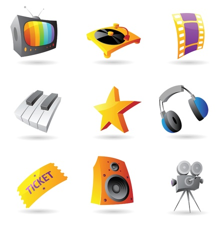 Icons for media. Vector illustration. Stock Vector - 10688673