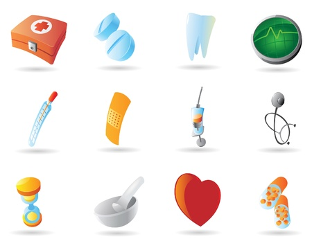 blue pills: Icons for health and medicine. Vector illustration.