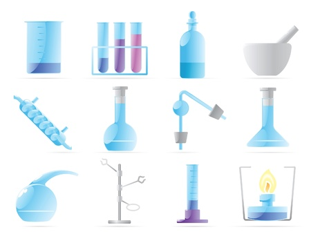 Icons for chemical lab. Vector illustration. Stock Vector - 10688697