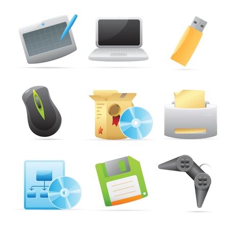 computer part: Icons for computer. Vector illustration. Illustration
