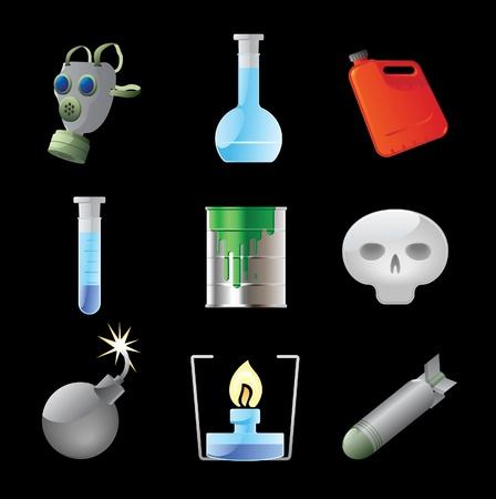 gas mask danger sign: Icons for dangerous chemistry. Vector illustration. Illustration