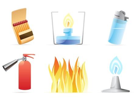 lighter: Icons for fire. Vector illustration.