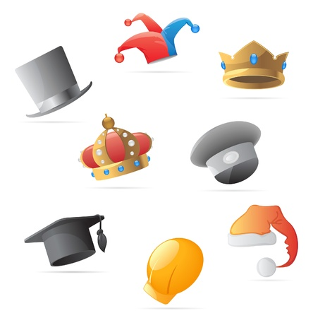 Icons for various hats. Vector illustration. Stock Vector - 10688699