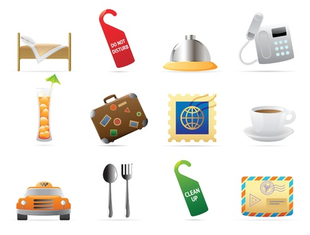 travel phone: Icons for hotel and services. Vector illustration.