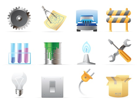switch plug: Icons for industry. Vector illustration. Illustration