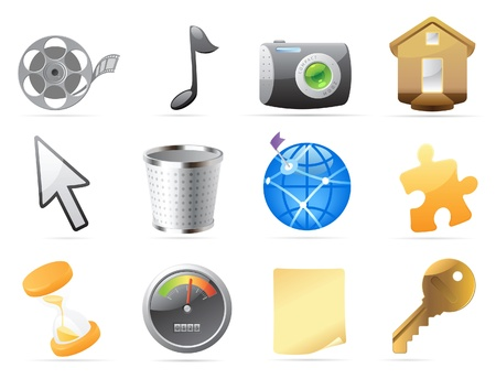 Icons for computer and website interface. Vector illustration. Stock Vector - 10688694
