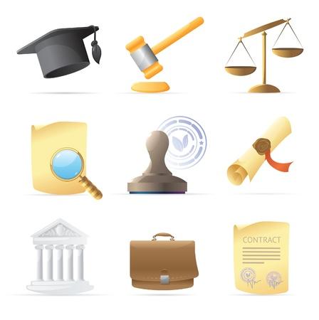 giurisprudenza: Icone per legge. Illustrazione vettoriale.