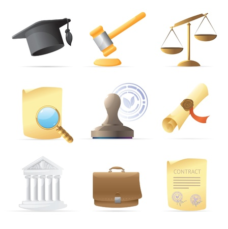 justi�a: Icons for law. Vector illustration.