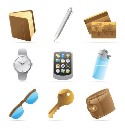 belongings: Icons for personal belongings. Vector illustration. Illustration