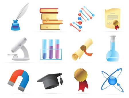 Icons for science and education. Vector illustration. Vector