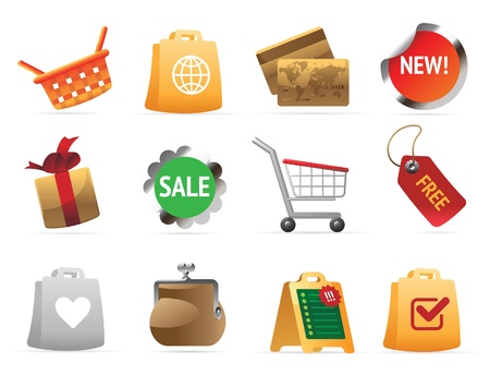 Shoping: Icons for shopping. Vector illustration. Illustration