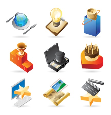Vector concept icons for media and entertainment. Illustrations for document, article or website. Stock Vector - 10688716