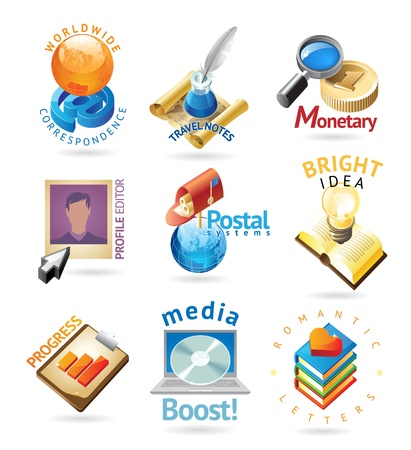 red icon: Media technology icons. Heading concepts for document, article or website. Vector illustration. Illustration
