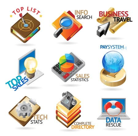 Business technology icons. Heading concepts for document, article or website. Vector illustration. Vector