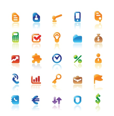 Perfect designer vector icons for business. Main shape, highlights and reflection are in separate layers. Vector