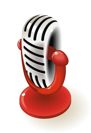 Old-fashioned chrome microphone. Vector illustration. Stock Vector - 10688703