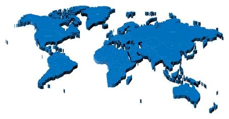 Carte du monde avec les frontières nationales et les noms de pays. Illustration vectorielle en pseudo-3D.