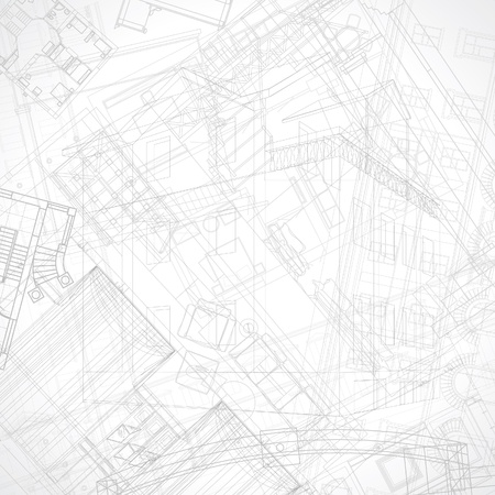 drafts: Abstract architectural background. Vector illustration. Illustration
