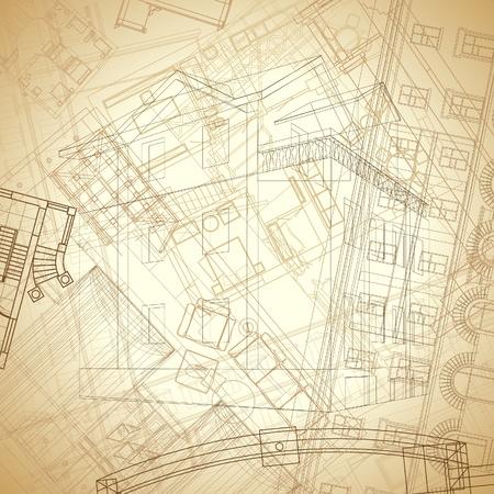Zusammenfassung architektonischen Hintergrund im Vintage Sepia Farben. Vektor-Illustration.