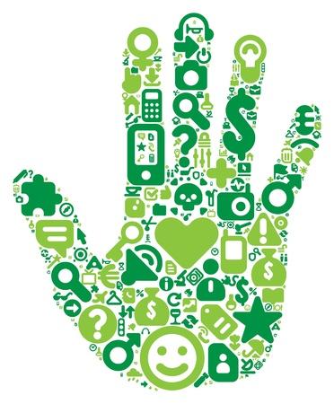 Concepto de la mano del hombre. Hecho de 100 iconos vectoriales conjunto en tonos verdes.